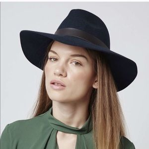 Navy Blue Boho Fedora Hat by Urban Outfitters